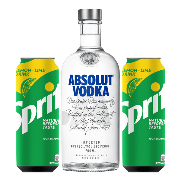 Absolut Vodka 700ml + 2 Sprite 325ml Cans Bundle