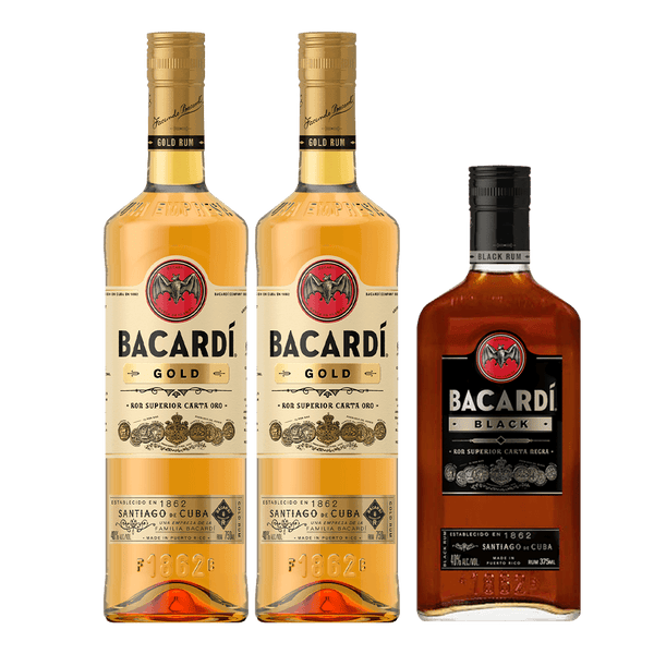 2 Bacardi Gold + 1 FREE Bacardi Black 375ml Bundle