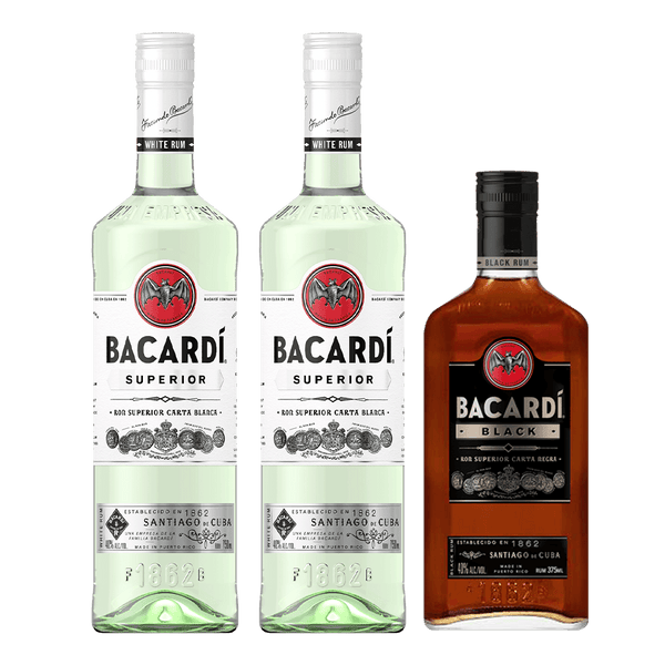 2 Bacardi Superior + 1 FREE Bacardi Black 375ml Bundle