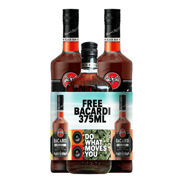 Bacardi Black 750ml twin pack with FREE Bacardi Black 375ml