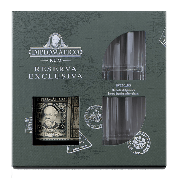 Diplomatico Reserva Exclusiva 700ml with 2 Glasses Pack - Boozy.ph