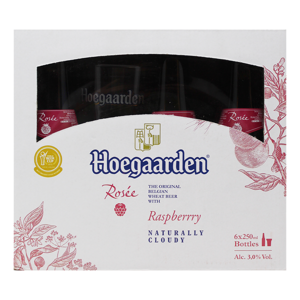 Hoegaarden Rosee 250ml Bottle 6-Pack with Free Glass