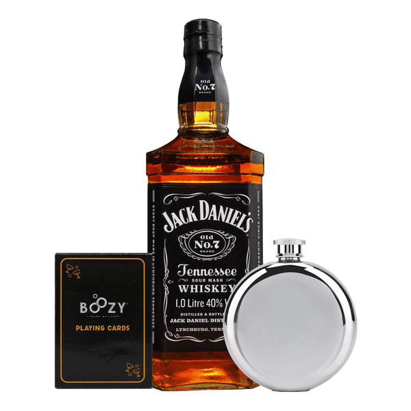 Jack Daniel's Tennessee Whiskey 1L Cards and Flask Bundle