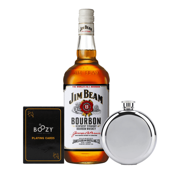 Jim Beam White 700ml Cards and Flask Bundle