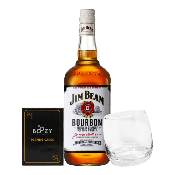 Jim Beam White 700ml Cards and Glass Bundle