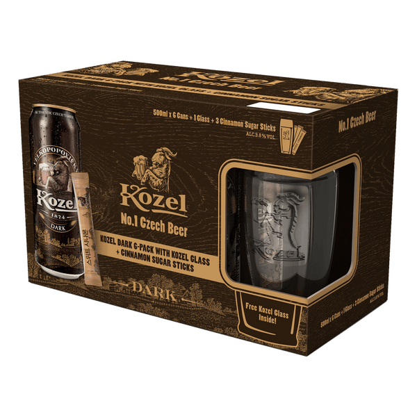 Kozel Dark 6-Pack 500ml cans with Cinnamon Sugar Sticks and Panic Line Glass - Boozy.ph