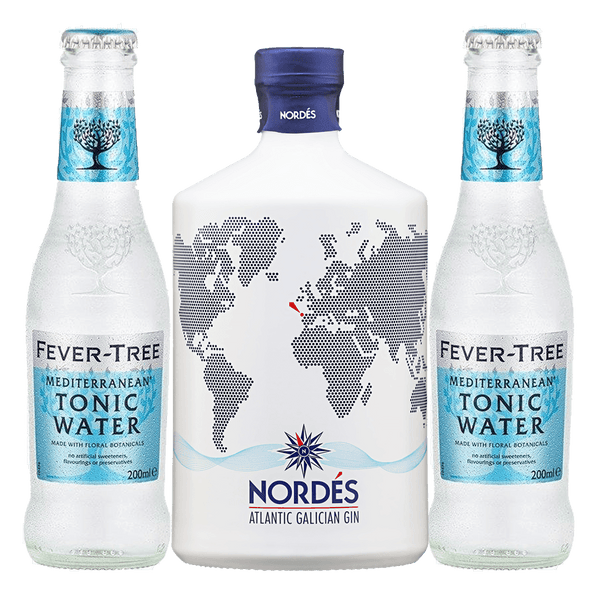 Nordes Gin 700ml + 2 Fever Tree Mediterranean Tonic Water 220ml Bundle