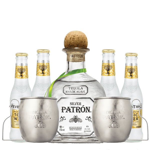 Patron Silver Mule Mug Set + 4 FREE Fever Tree Indian Tonic