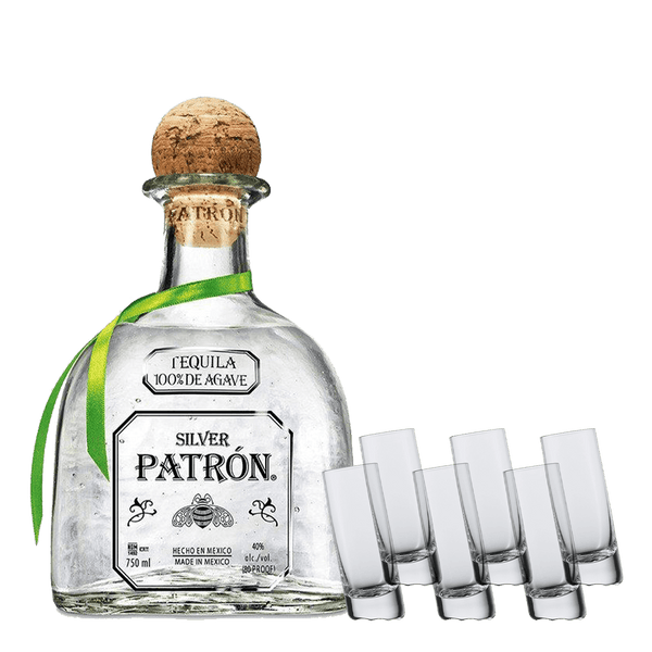 Patron Silver 750ml + Schott Zwiesel Shot Glass Bundle