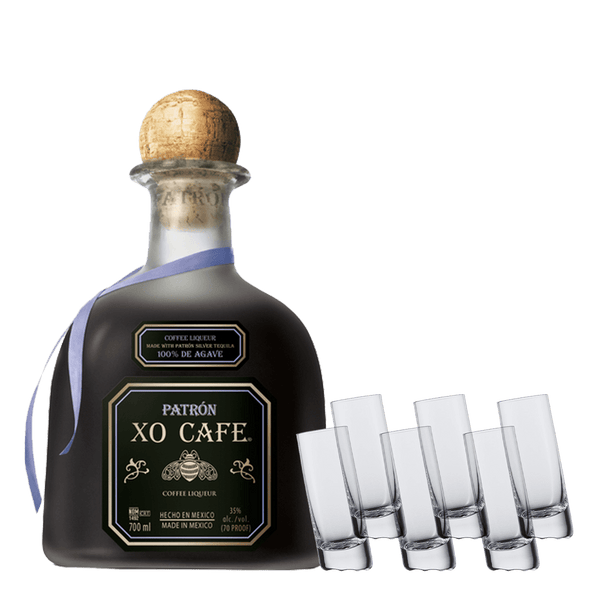 Patron XO 750ml + Schott Zwiesel Shot Glass Bundle