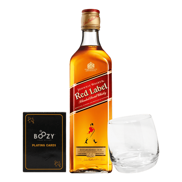Johnnie Walker Red Label 1L Cards and Glass Bundle