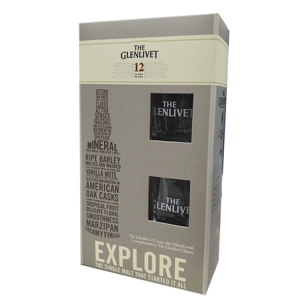 The Glenlivet 12yo 700ml with 2 Complimentary Glasses - Boozy.ph