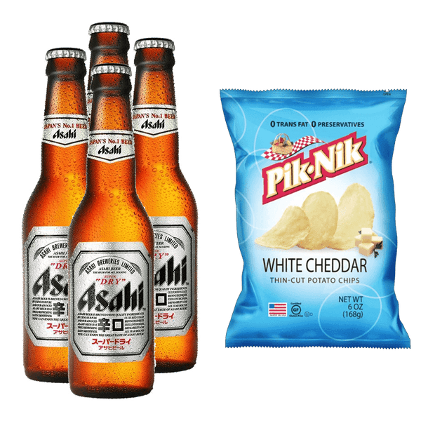 Asahi Super Dry 330ml Bundle of 4 Bottles + PIK-NIK White Cheddar 6oz - Boozy.ph