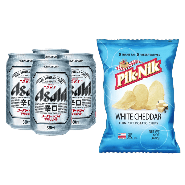 Asahi Super Dry 330ml Bundle of 4 Cans + PIK-NIK White Cheddar 6oz - Boozy.ph