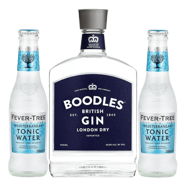 Boodles Gin 700ml + 2 FREE Fever Tree Mediterranean Tonic Water 200ml