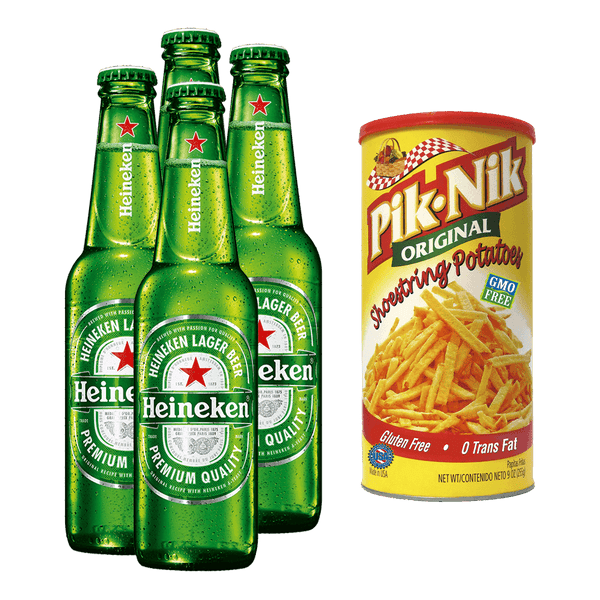 Heineken 330ml Bundle of 4 Bottles + PIK-NIK Shoestring Potato 9oz - Boozy.ph