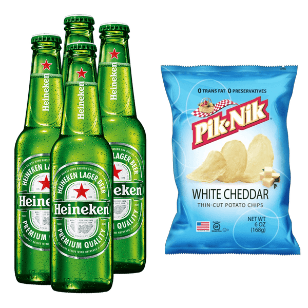 Heineken 330ml Bundle of 4 Bottles + PIK-NIK White Cheddar 6oz - Boozy.ph