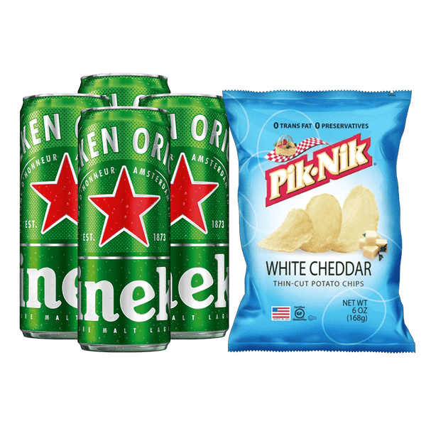 Heineken 330ml Bundle of 4 Cans + PIK-NIK White Cheddar 6oz - Boozy.ph