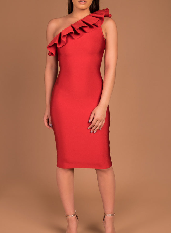 AMELIA - Red Frill Shoulder Bandage Dress