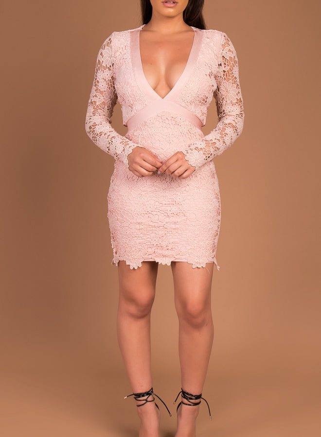 HARPER - blush lace bandage dress