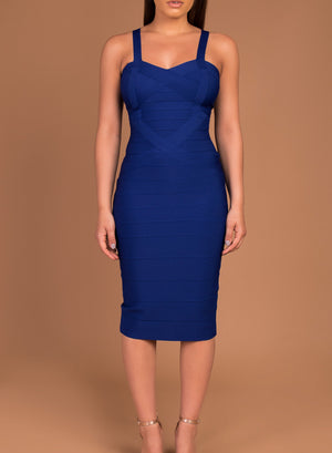 INDIANNA - cobalt bandage midi dress