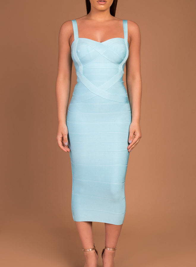 INDIANNA - turquoise bandage midi dress