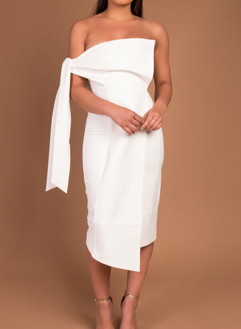 SHAY white bandeau dress