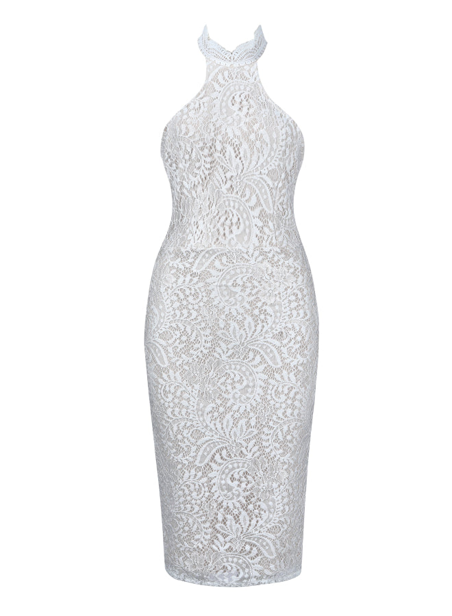 ANKARA - whit lace bandage dress