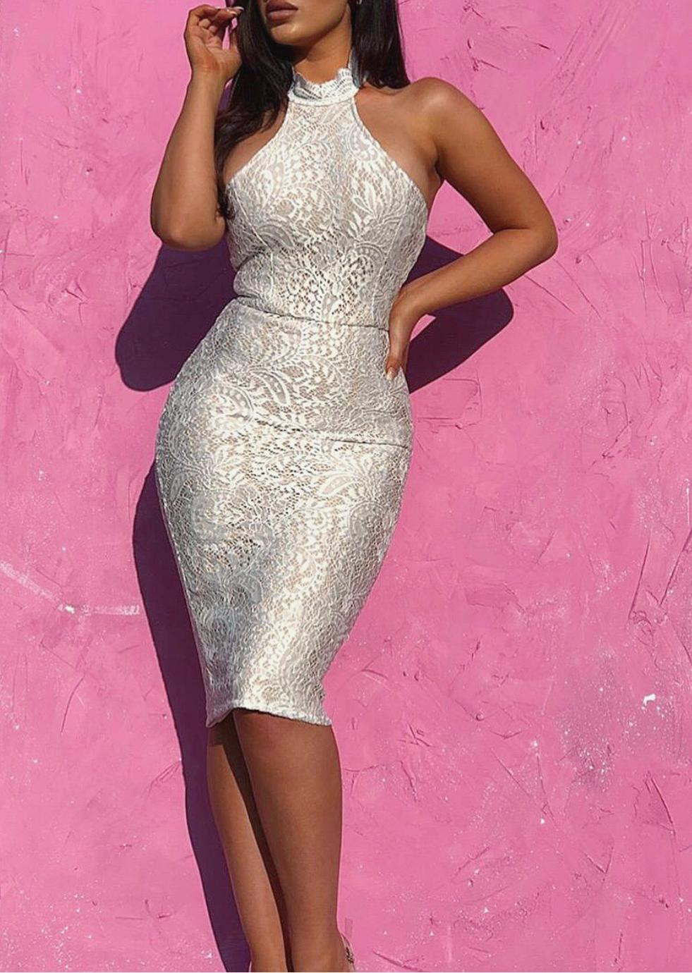 ANKARA - white lace bandage dress