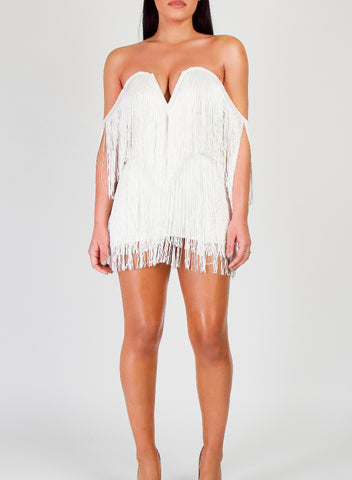 ARLOW WHITE TASSEL DRESS