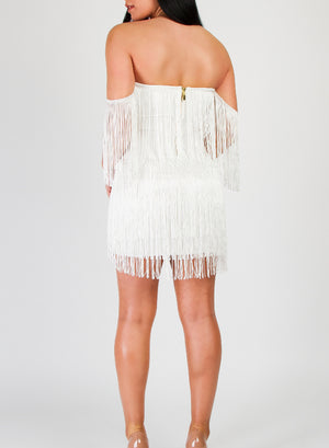 ARLOW - White Tassel Bandage Dress