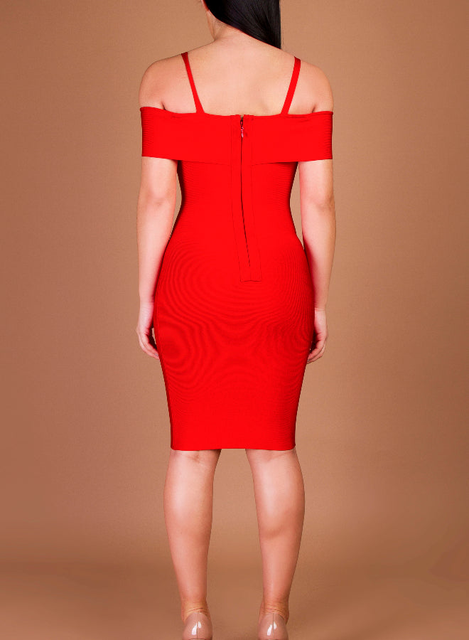 CARLA red bandage dress