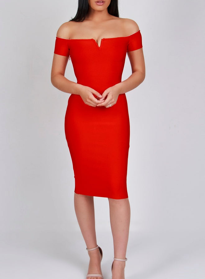 SORAYA - red bandage dress
