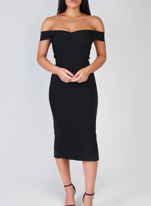 HATTIE - black bandage dress