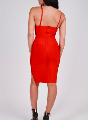 SIDE SPLIT - red bandage dress