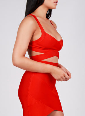BIANCA - Red Bandage Skirt