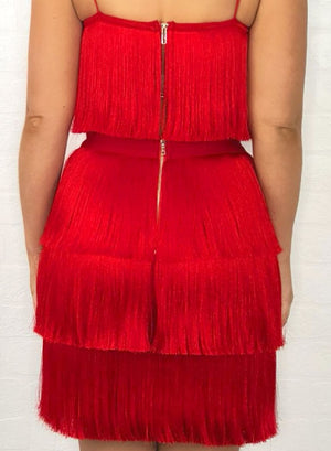 MEGHAN - red bandage two piece