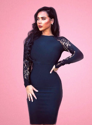 LOTTIE - black bandage dress