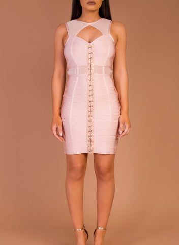 CHRISTIE BLUSH BANDAGE DRESS SAMPLE SALE
