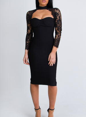KELLY - black bandage dress