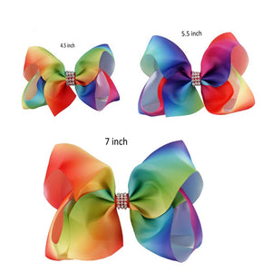 1 Set (3pcs) - 7 inch, 5.5 inch and 4.5 inch Rainbow Ribbon Hair Bow