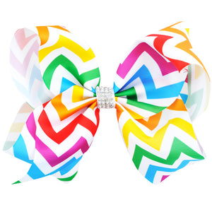 New Arrival: 8 Inch Big Wave Rainbow Hair Bow (2 styles)