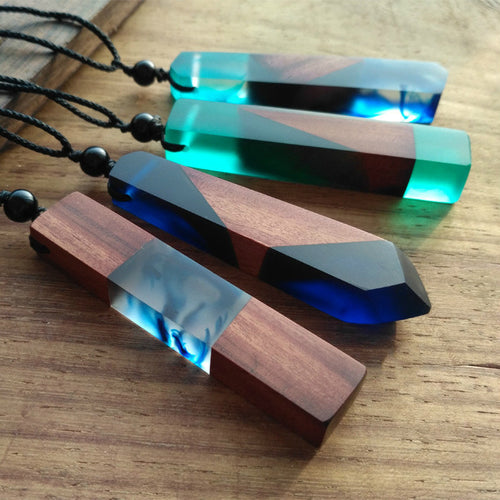 Handmade Vintage Resin Wood Statement Pendants Necklace my luv family