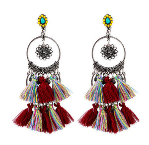 Handmade High Quality Vintage Boho-Chic Tassel Earring my luv family