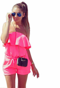 Hot Ladies Summer Fashion Sexy Jumpsuit Refreshing Solid Color Siamese Shorts Plus size Playsuits off shoulder my luv family boho