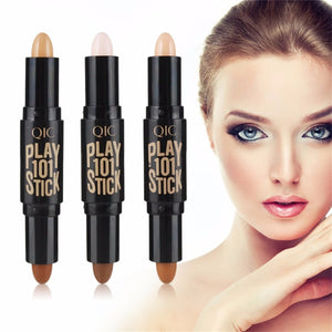 QIC Portable Size Double Head Facial Makeup Concealer Pen Natural Face Highlighter Shimmer Play Stick Concealer Stick my luv family