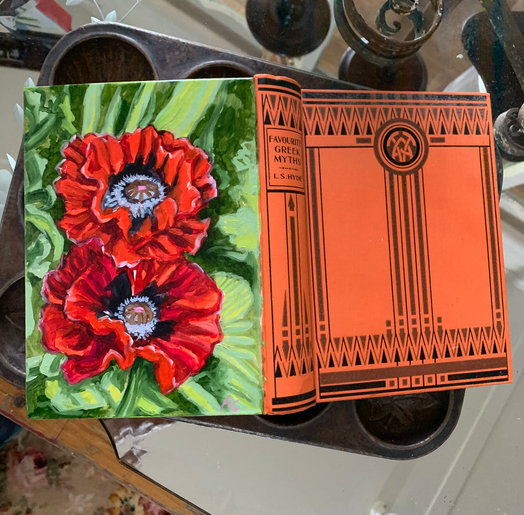 Red Poppies and the Greek Myth - Original Oil Book Painting