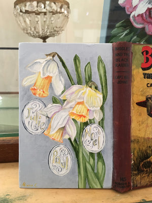 Commission - Biggles and the Daffodils - Original oil book Painting