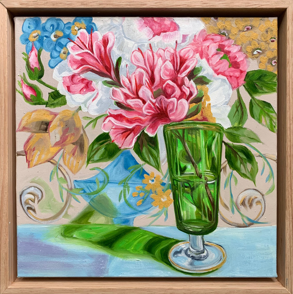 Sanderson Bouquet and the Azalea Green Glass