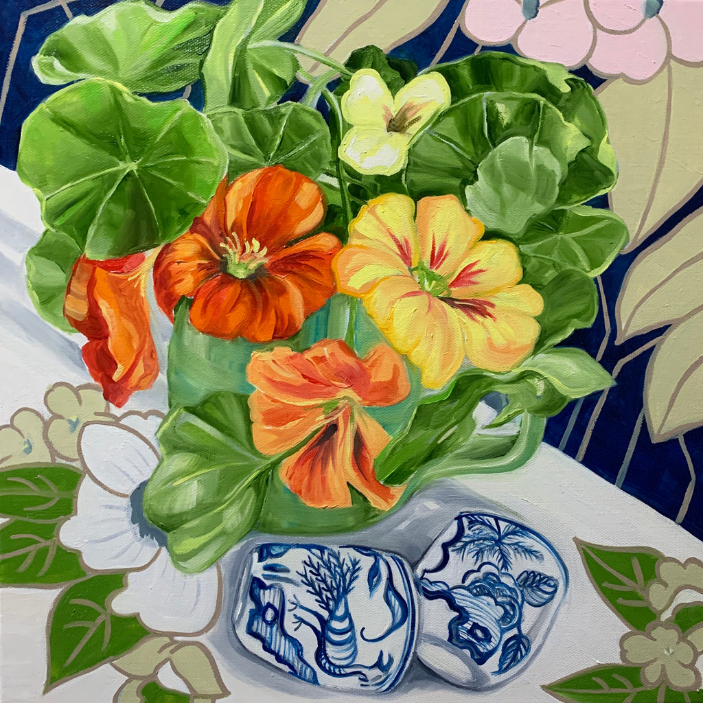 70s Bright Pop Egg Cups and the Nasturtiums